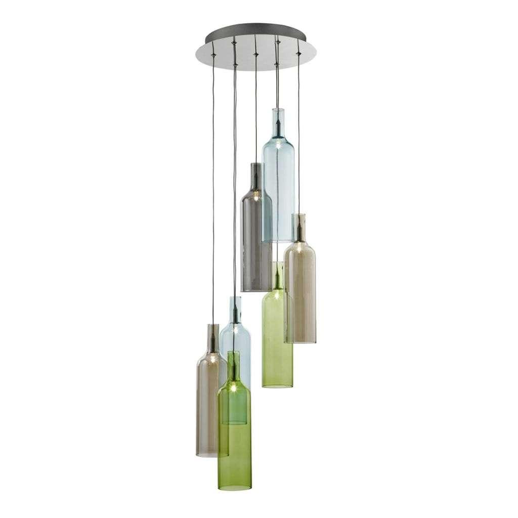 Bottle 7 Light Multi Drop Pendant With Multi Coloured Glass Bottles