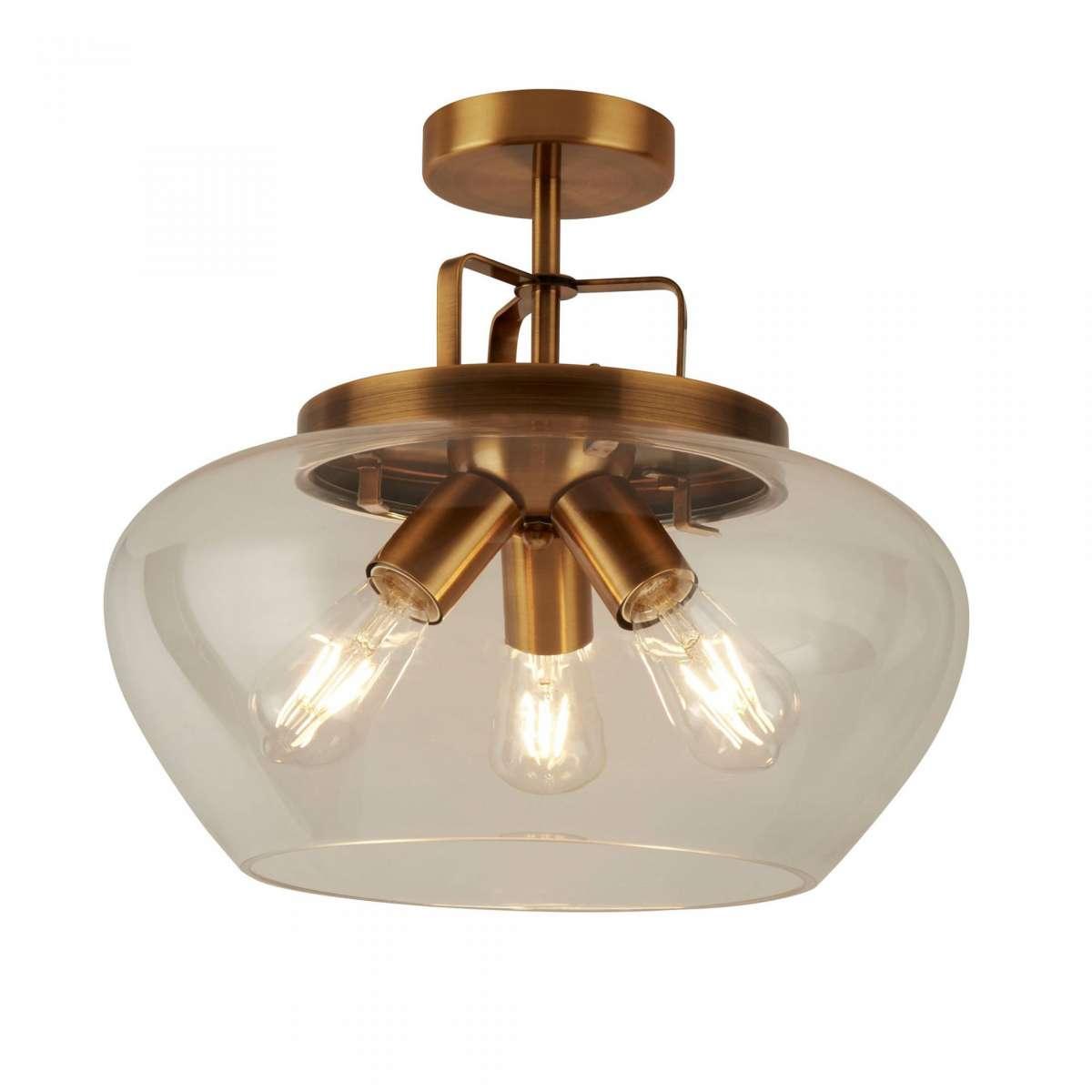 Boule 3 Light Semi Flush Bronze Clear Glass