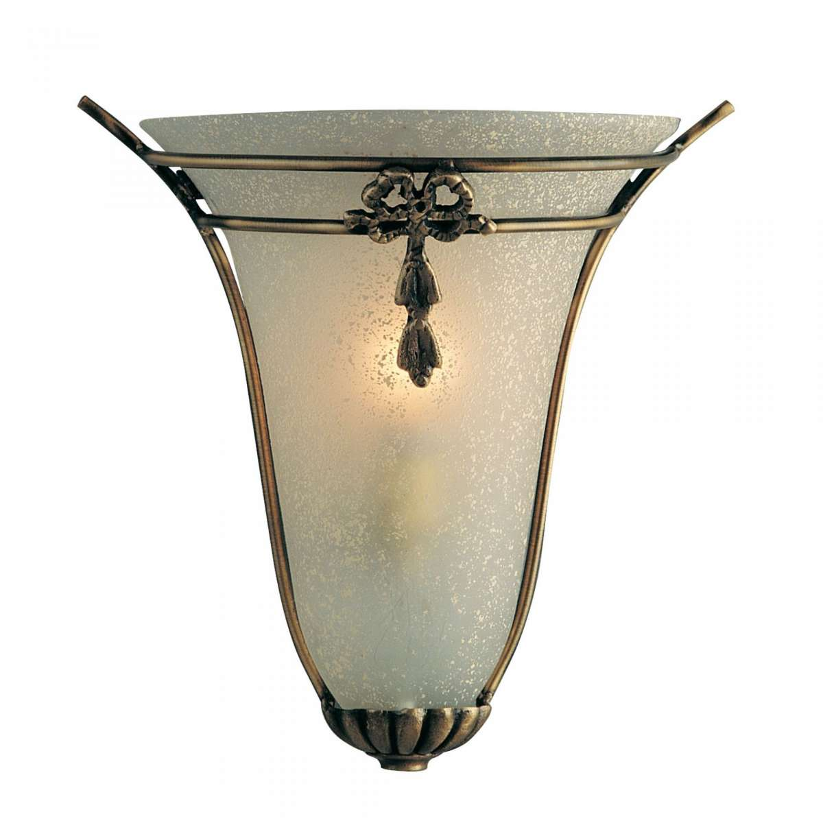 Bronze Decorative Wall Light with Oval Scavo Frosted Glass
