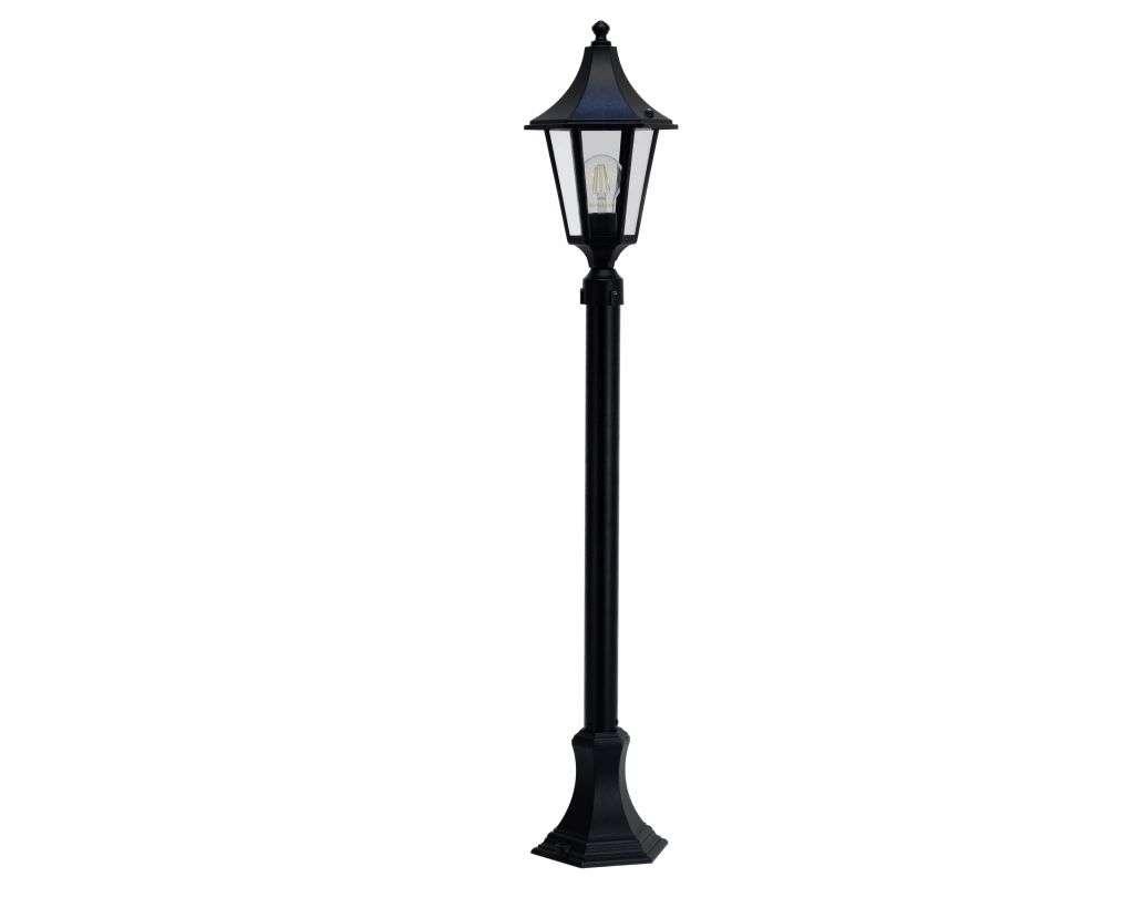 Burney  Small 6-Sided Medium Height Post Lantern Black