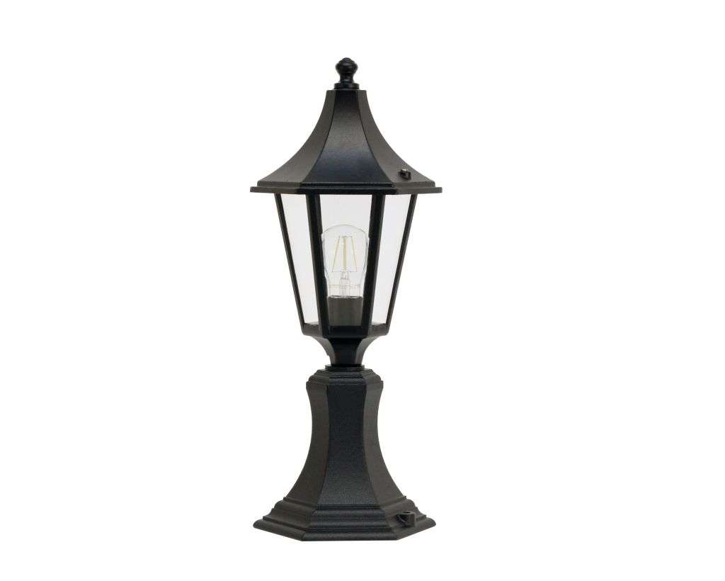 Burney Small 6-Sided Post Top Lantern Black