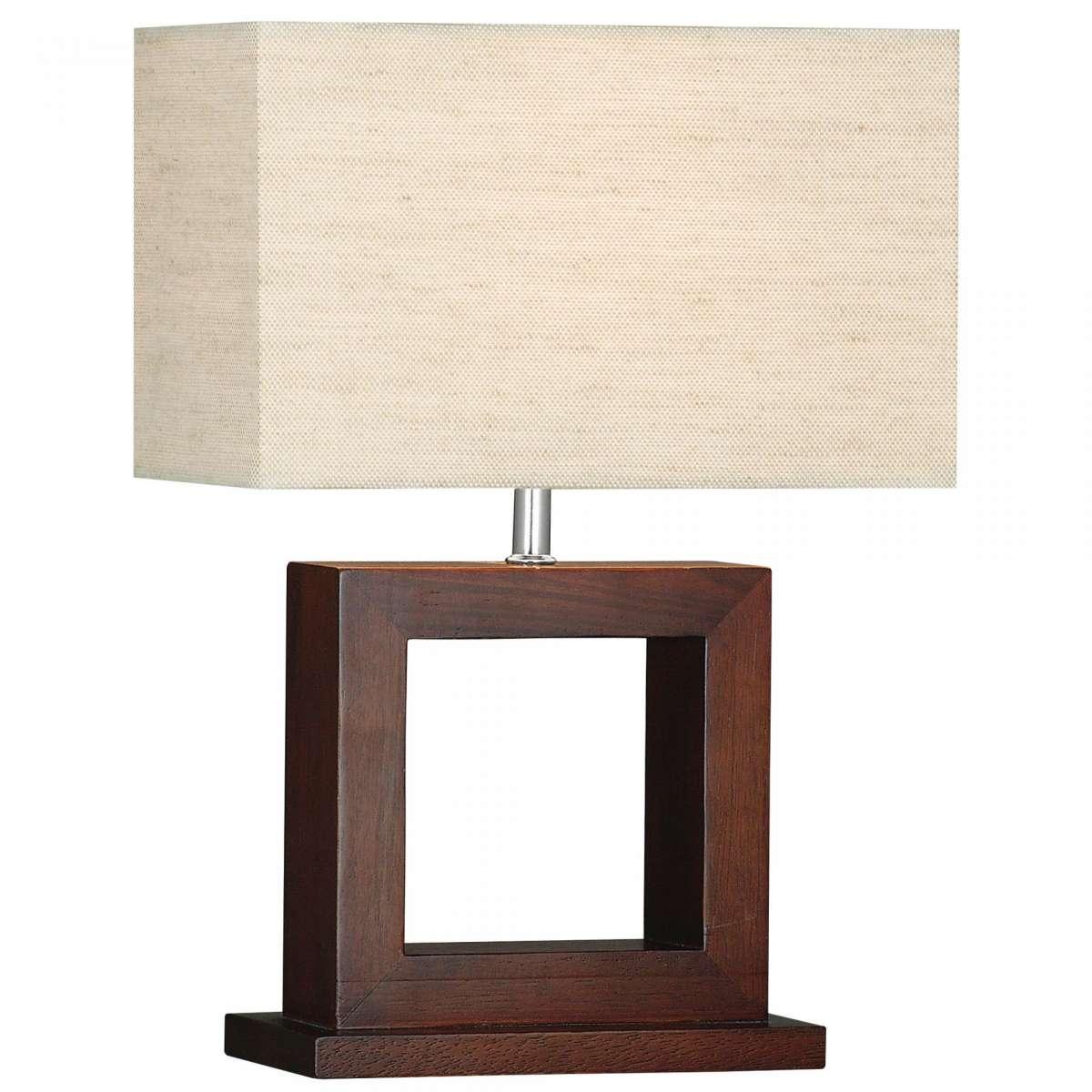 Calven Cosmopolitan Dark Wood Square Table Lamp