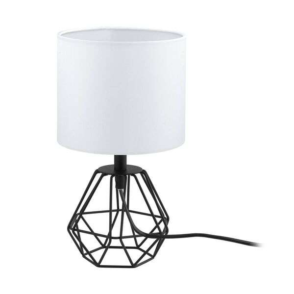 Carlton 2, Table Lamp in Black with White Fabric Shade