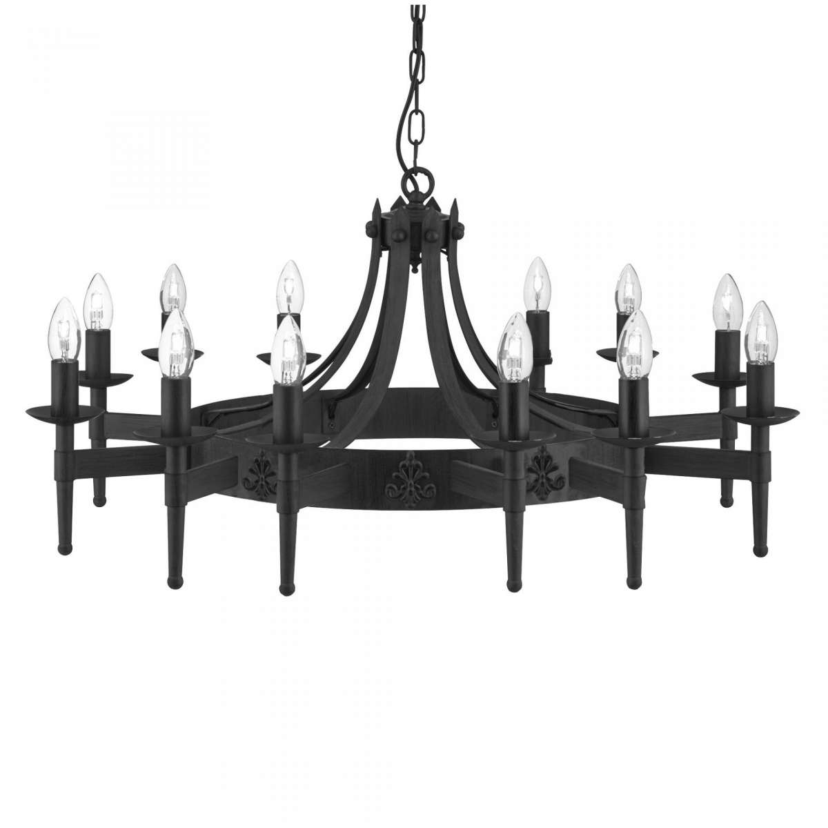 Cartwheel 12 Light Ceiling Wrought Iron Black