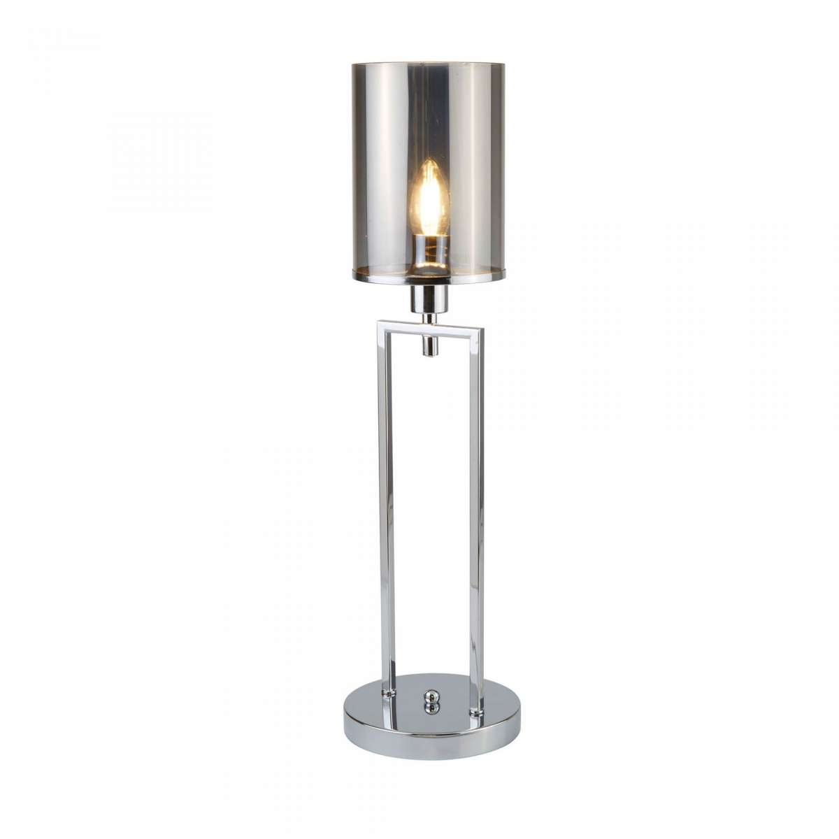 Catalina Table Lamp Chrome With Smoked Glass Shades
