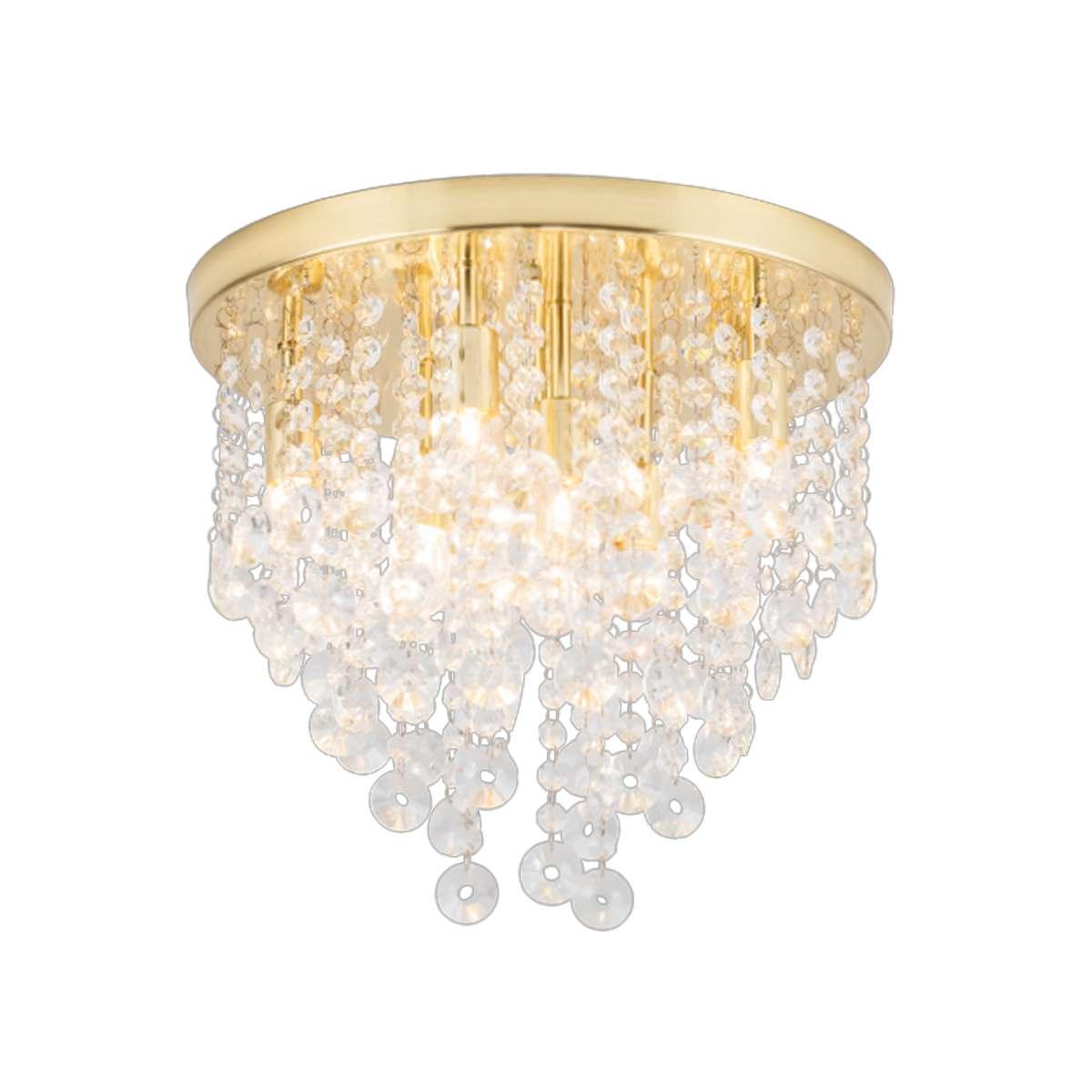 Celeste 9 Light Flush Fitting in Brass