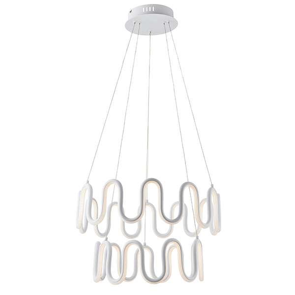 Cern 2 Light LED Pendant in textured White Finish