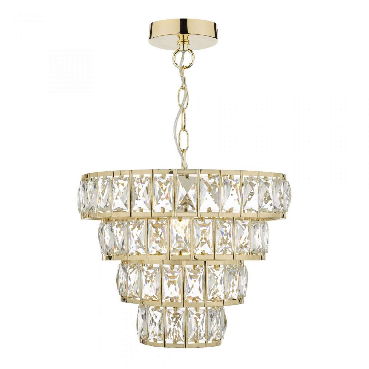 Cerys 1 Light 4 Tier Pendant Crystal & Gold