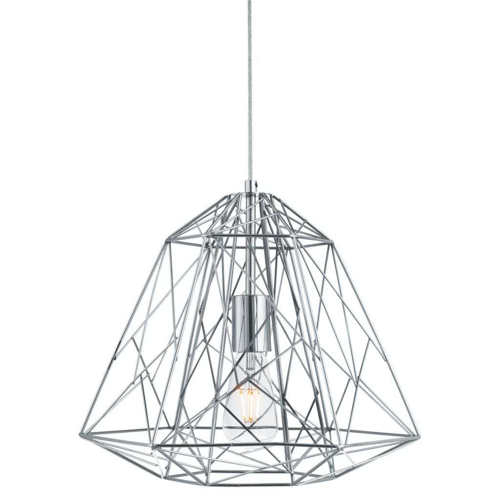 Chrome Geometric Cage Pendant Light