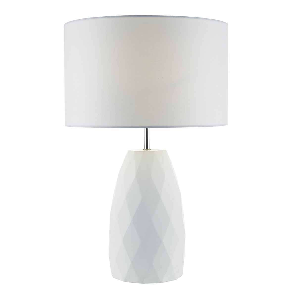 Ciara Table Lamp White Base c/w White Linen Shade