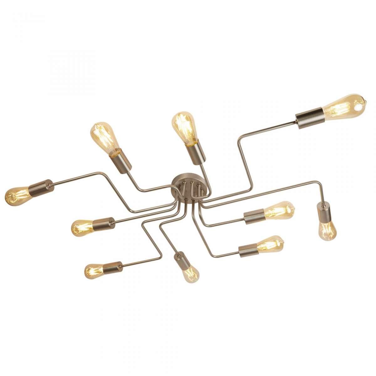 Circuit 10 Light Ceiling Flush Light Satin Silver