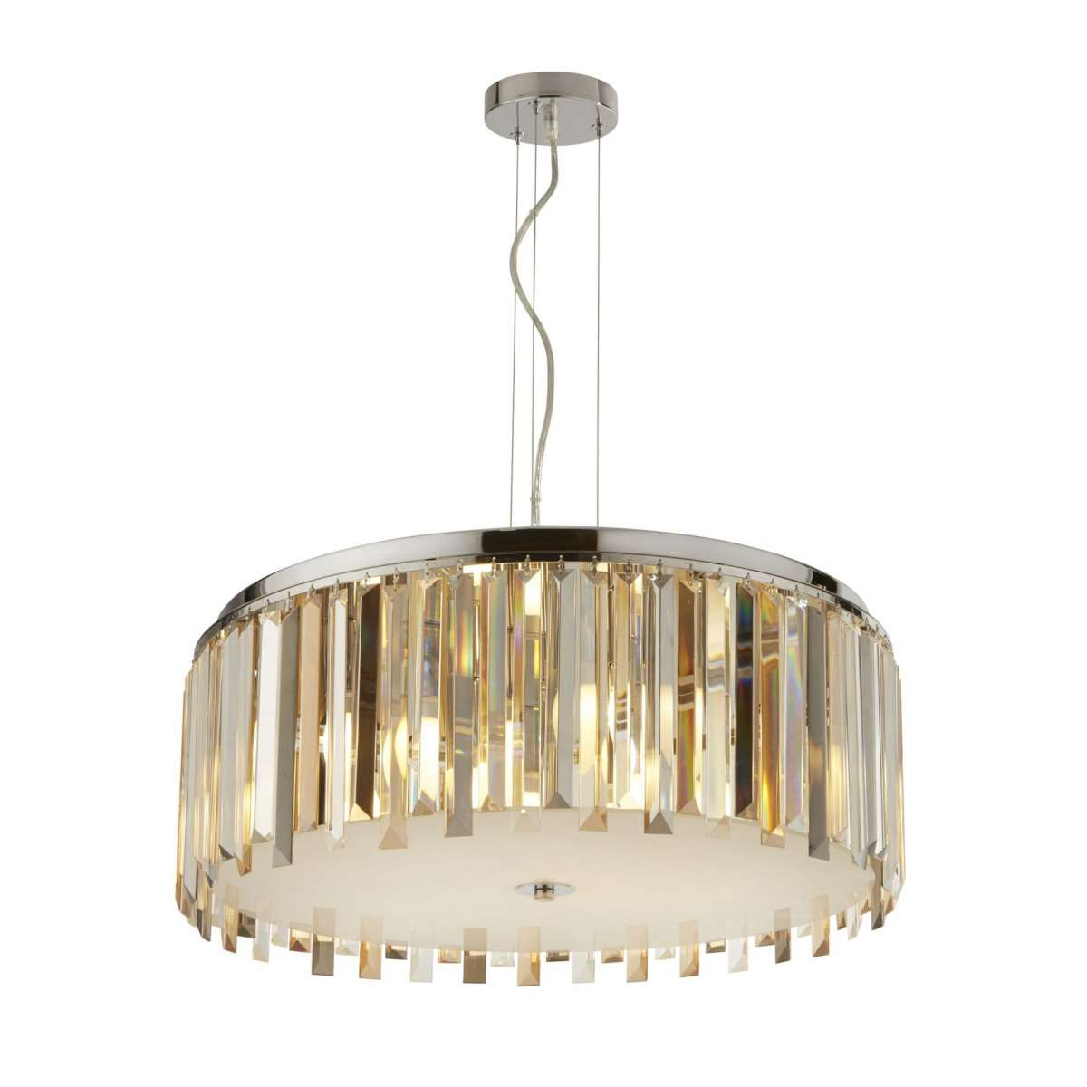Clarissa 5 Light Drum Pendant Chrome With Amber and Smokey Crystal