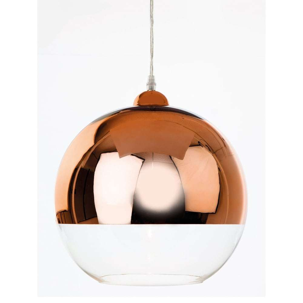 Club Single Light Ceiling Pendant In Copper With Clear Glass