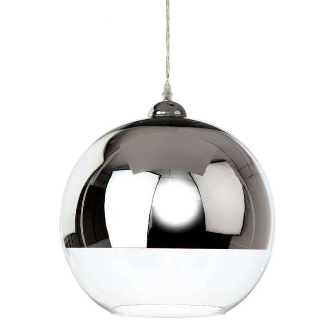 Club Single Light Ceiling Pendant In Polished Chrome With Clear Glass