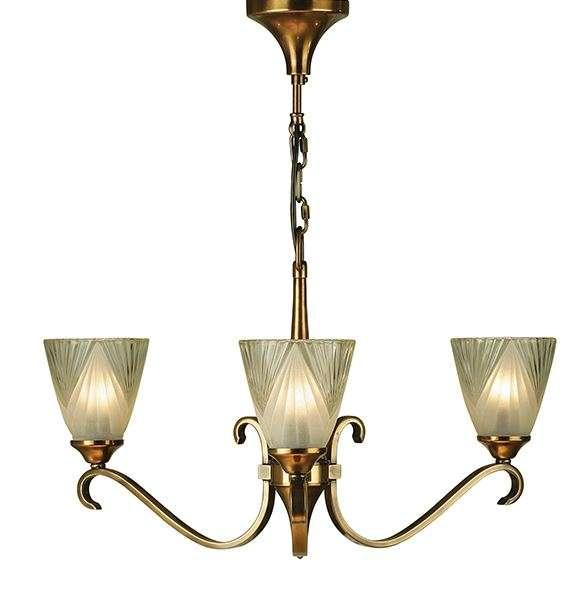 Columbia Brass 3 Light Pendant & Decoorative Glass 40W