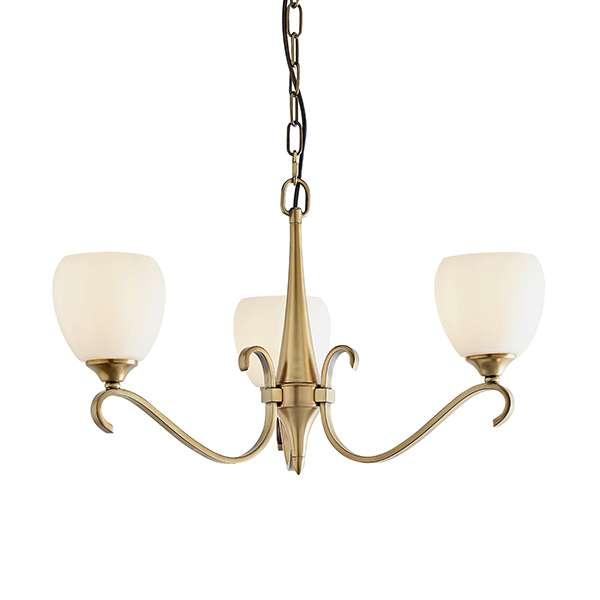Columbia Brass 3 Light Pendant & Opal Glass 40W