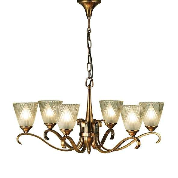 Columbia Brass 6 Light Pendant & Decorative Glass 40W