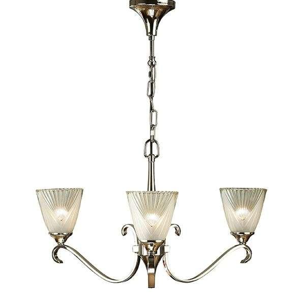 Columbia Nickel 3 Light Pendant & Decorative Glass 40W