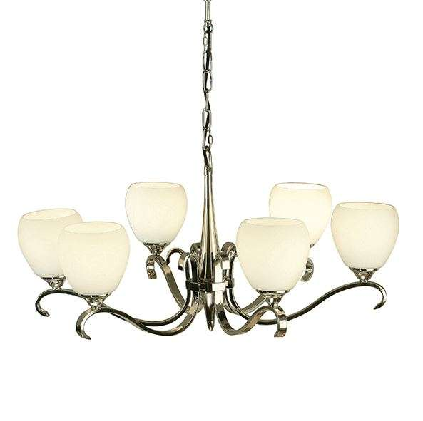 Columbia Nickel 6 Light Pendant & Opal Glass 40W