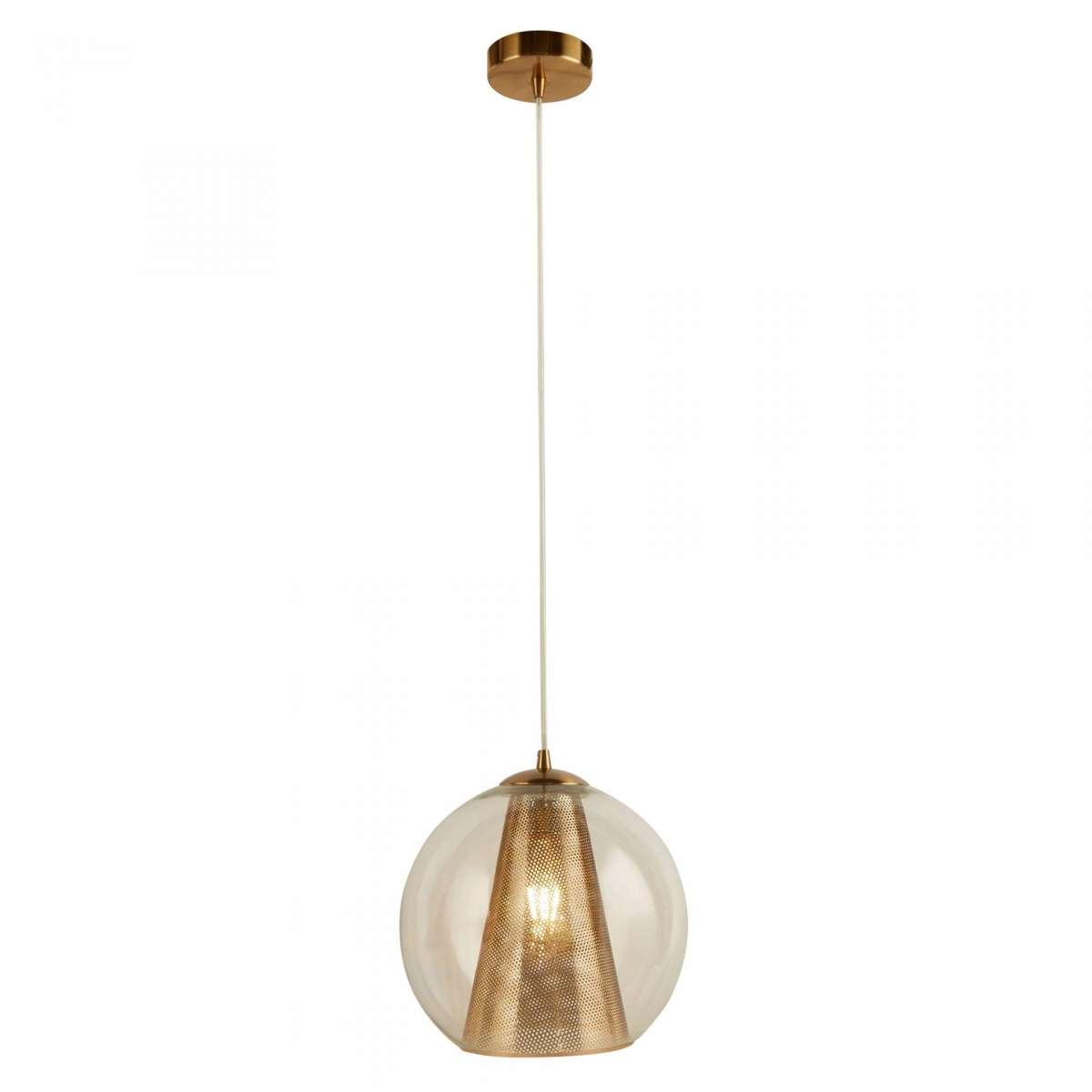 Conio Single Pendant Satin Brass And Clear Glass