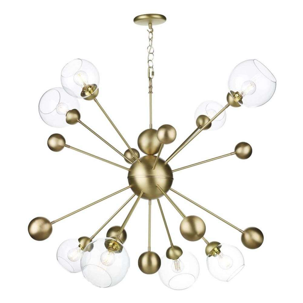 Cosmos 8 Light Pendant Horizontal in Butter Brass