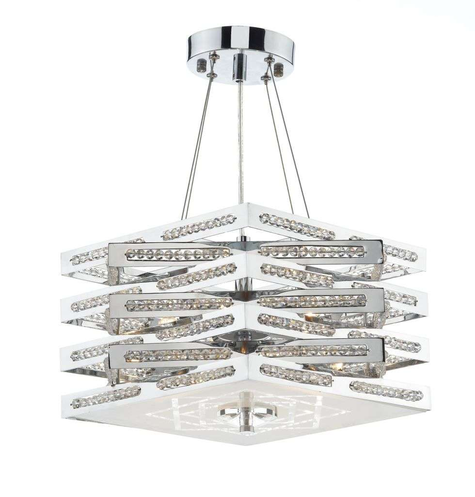 Cube 5-Light Polished Chrome And Crystal Fitting