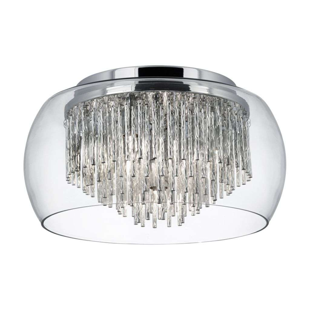 Curva Clear Glass Shade 4 Light Flush Aluminium Spiral Tubes