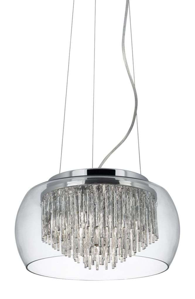 Curva Clear Glass Shade 4 Light Pendant Aluminium Spiral Tubes In