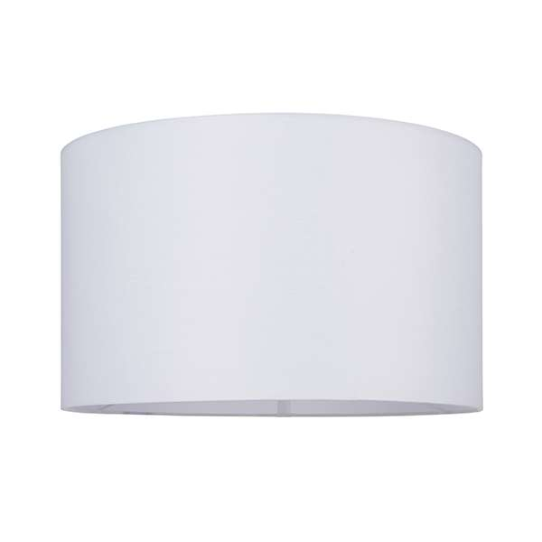 Cylinder Shade 400mm  in White Cotton Fabric