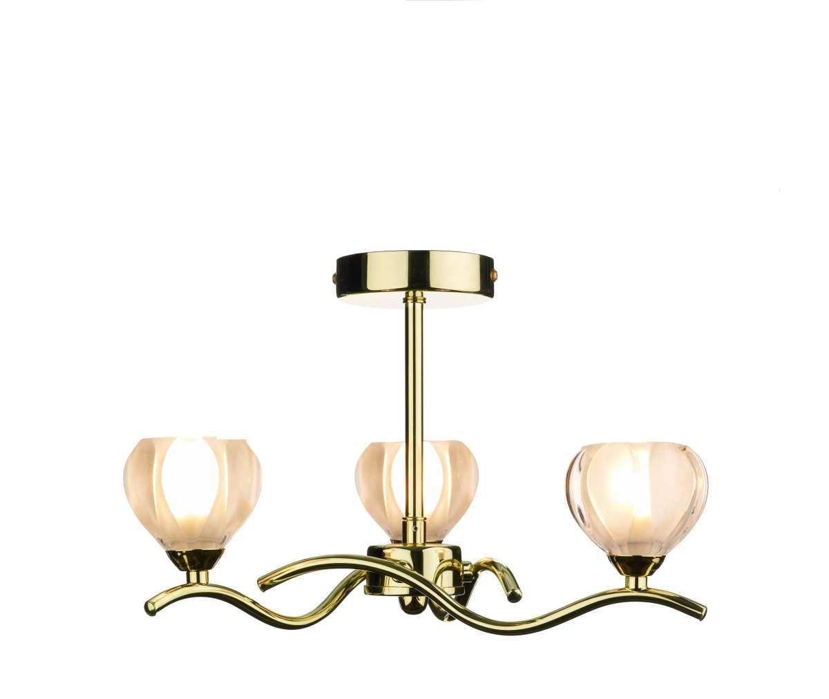 Cynthia 3-Light Polished Brass Semi-Flush Fitting