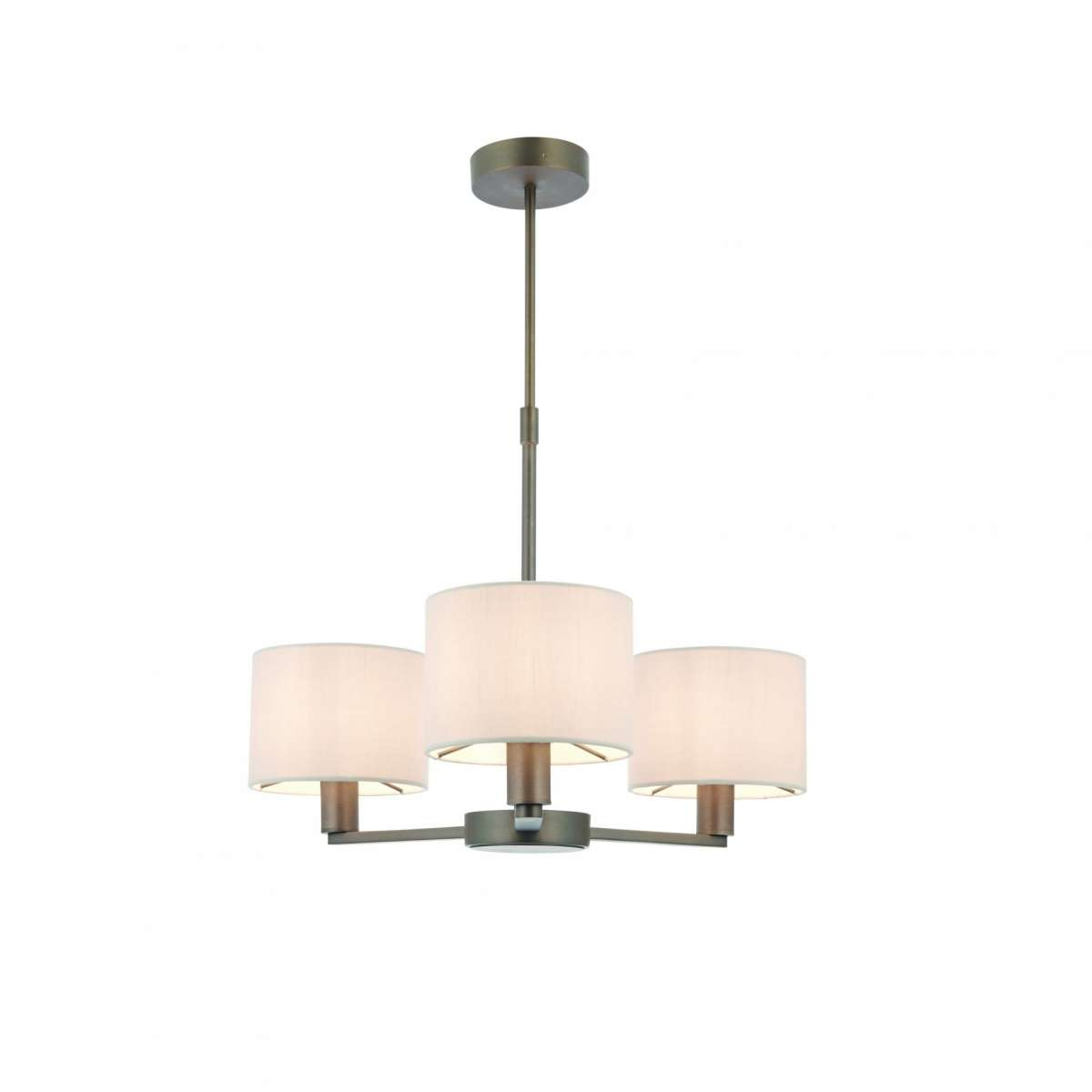 Daley 3 Light Drum Pendant in Bronze C/W Marble Shade