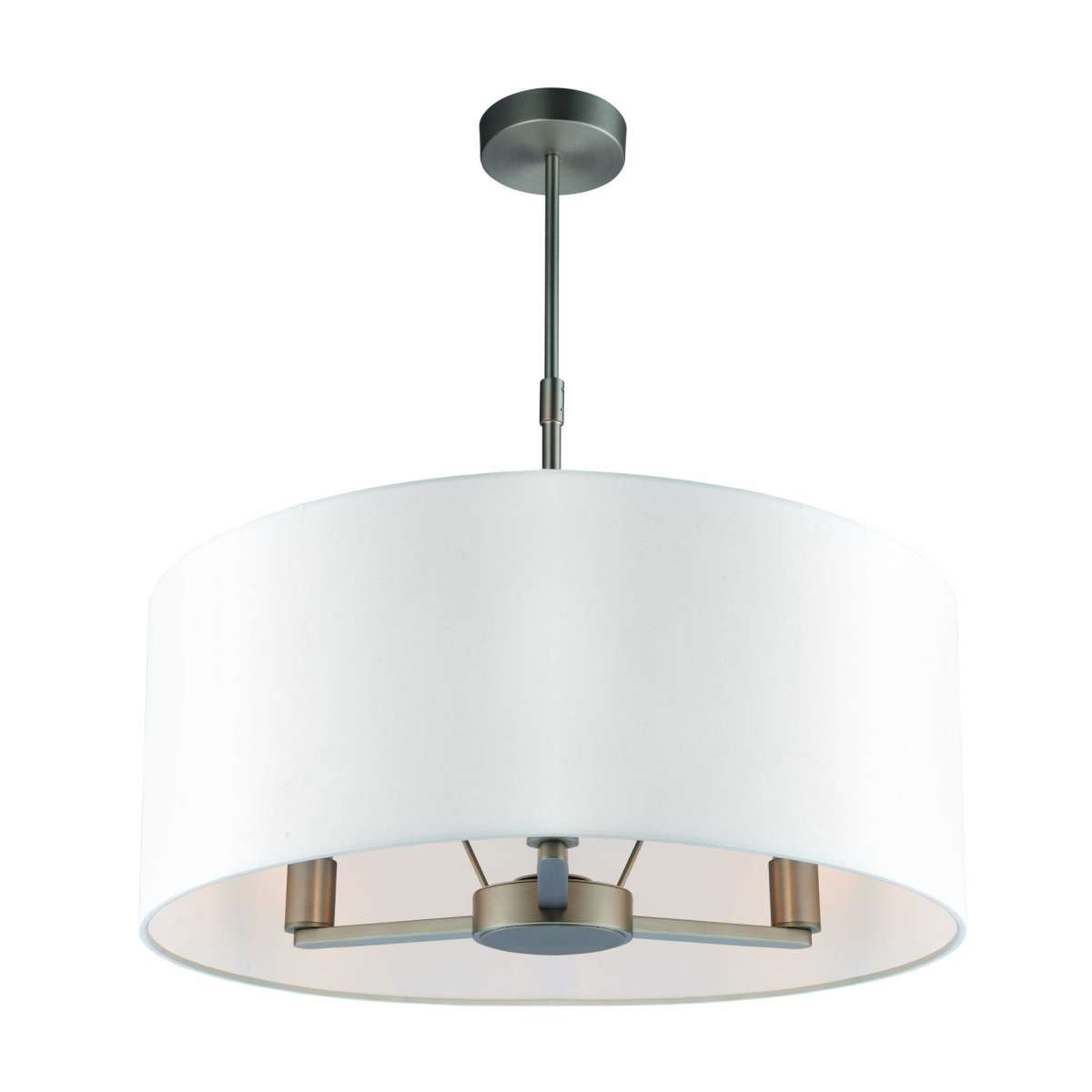 Daley 3 Light Drum Pendant in Nickel C/W Large White Shade