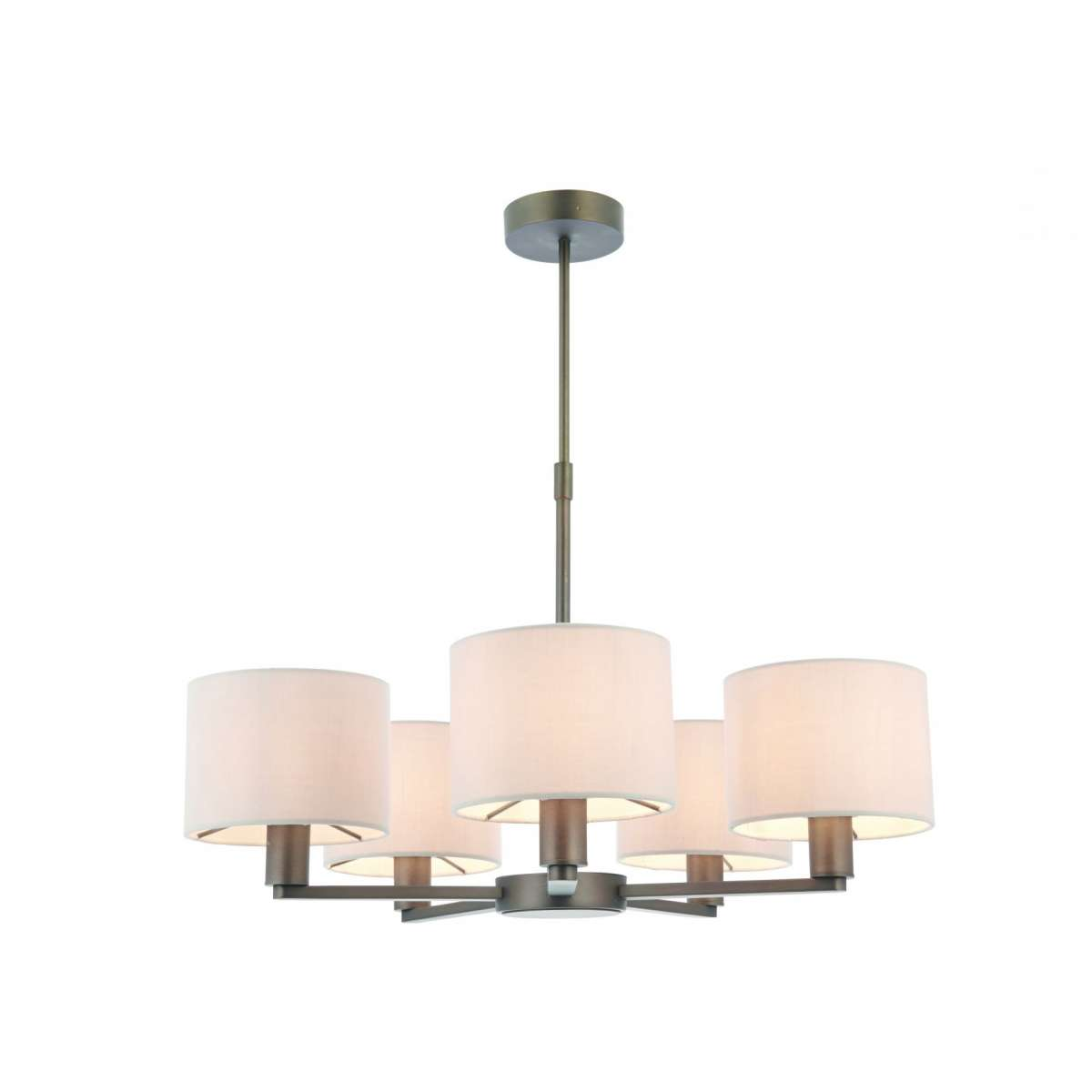 Daley 5 Light Multi Arm Pendant in Bronze C/W Marble Shades