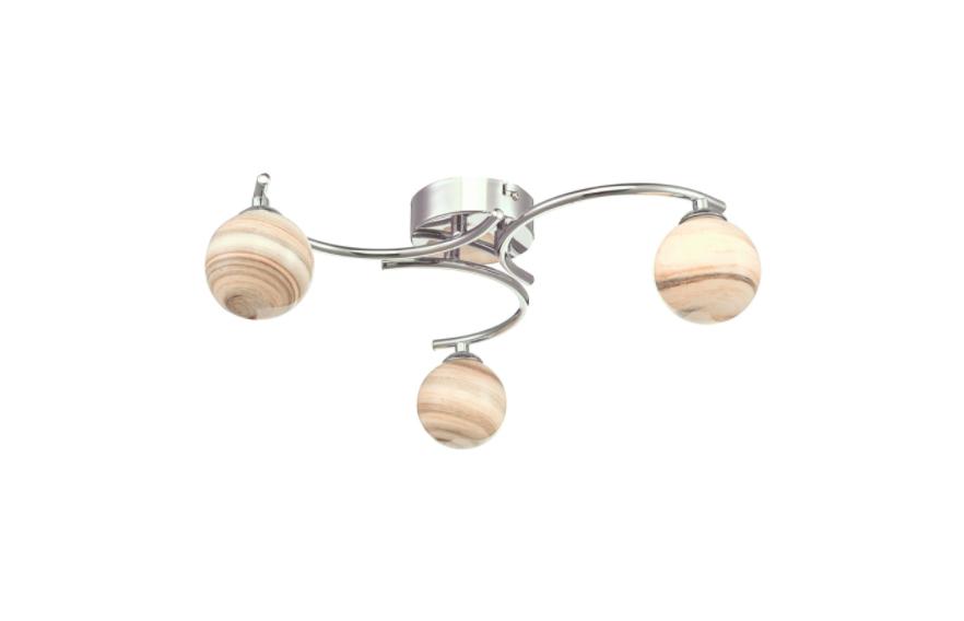 Dar Lighting ATI5350-07 Atiya 3 Light Semi Flush Ceiling Light Polished Chrome With Planet Style Glass
