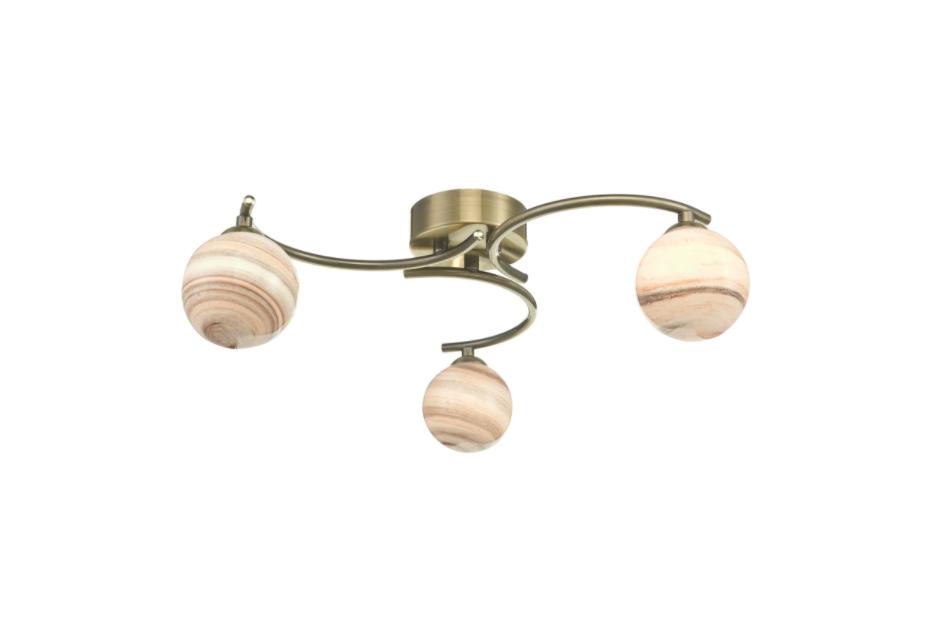Dar Lighting ATI5375-07 Atiya 3 Light Antique Brass Semi Flush Ceiling Light With Planet Style Glass