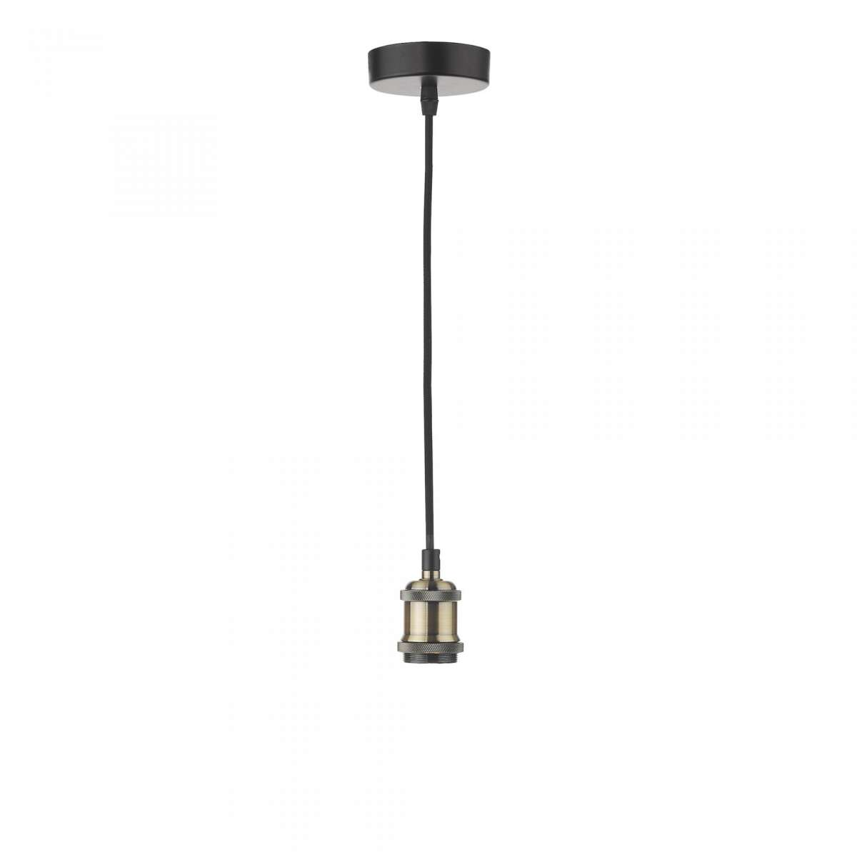 Dar Lighting WAC0175 Waco Single E27 Suspension Antique Brass Matt Black