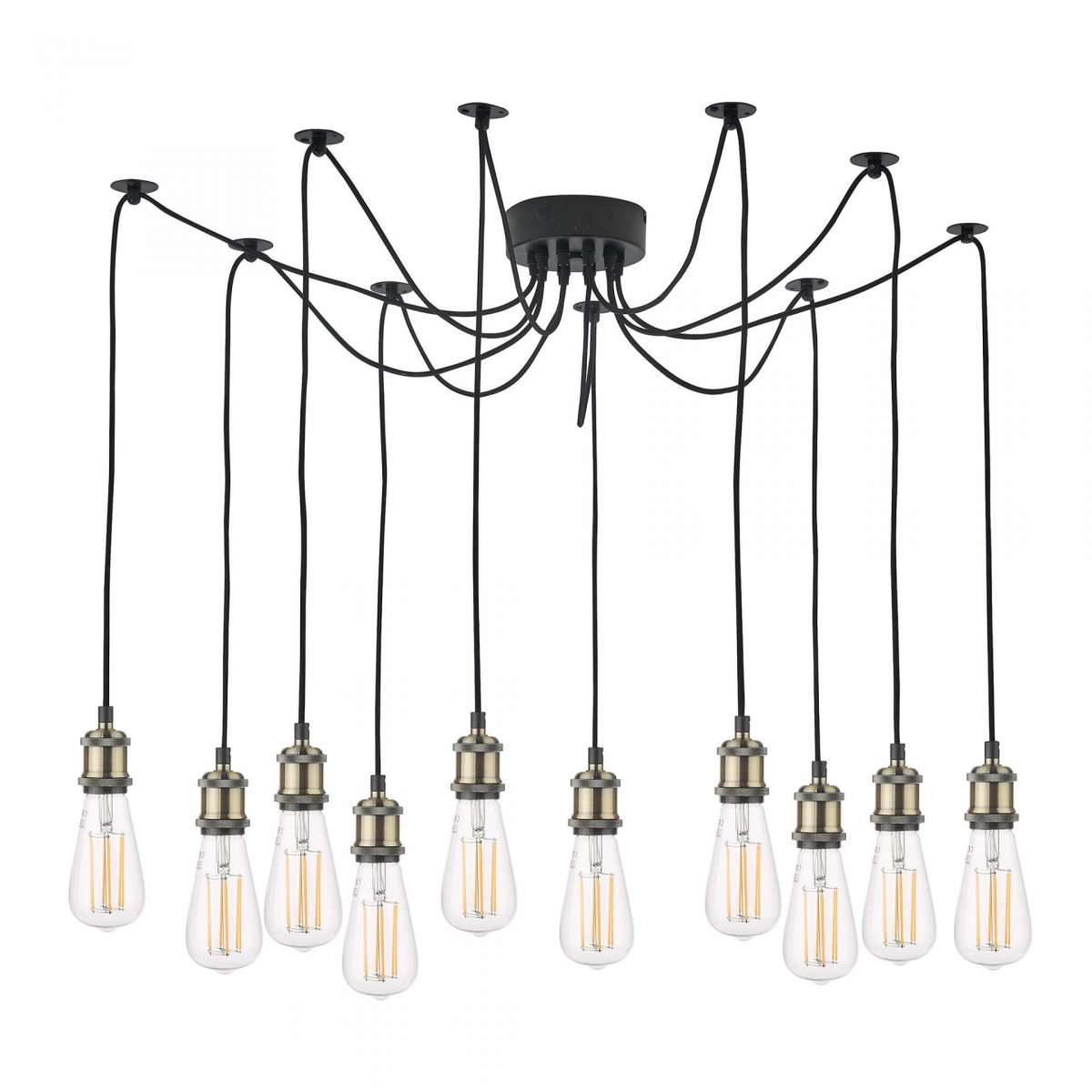 Dar Lighting WAC2375 Waco 10 Light Pendant Antique Brass Matt Black