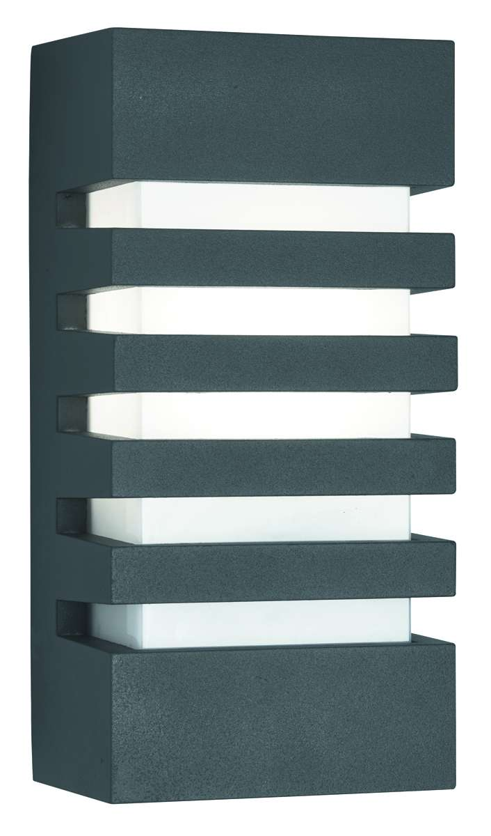 Dark Grey Ip44 Grilled Outdoor Wall Light With Polycarbonate Diffuser