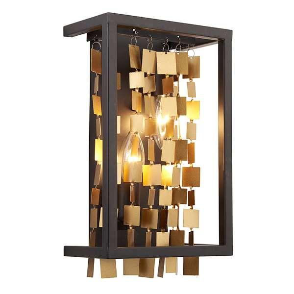 Daya 2 Light Wall Lantern in Black & Gold Finish