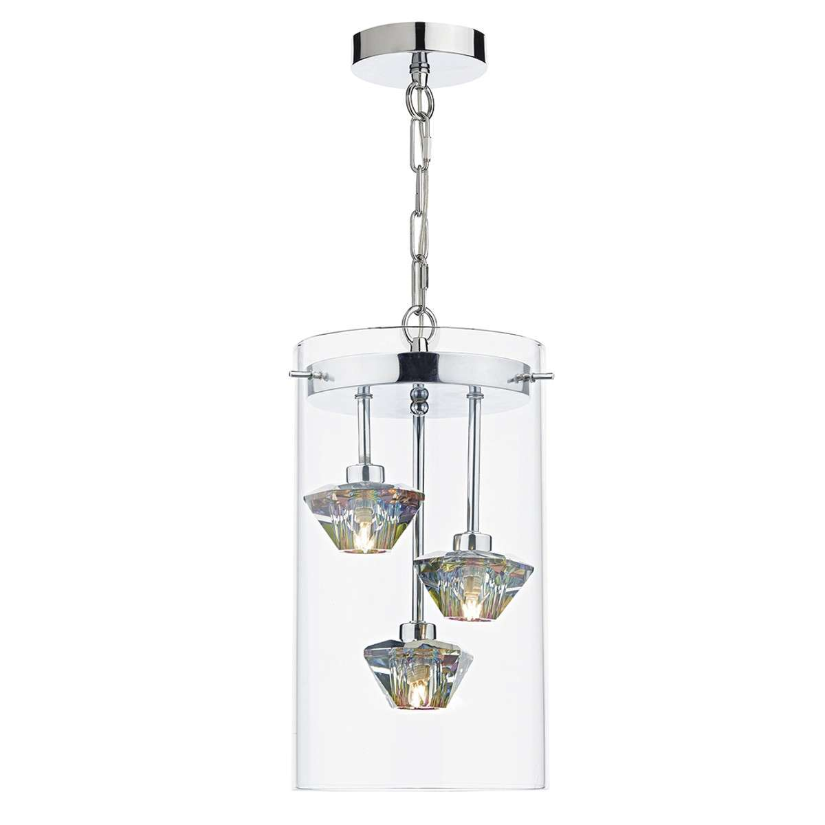 Decade 3 Light Pendant Polished Chrome/Clear