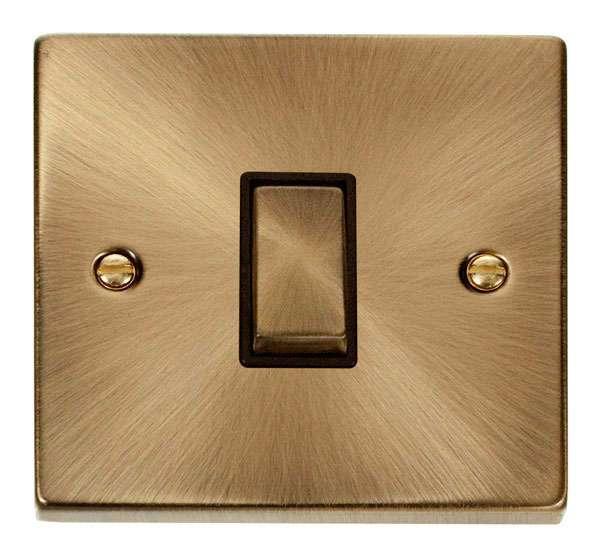 Deco 1Gang Intermediate Antique Brass Switch Black Insert