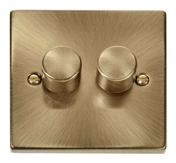 Deco 2Gang 2way Antique Brass Dimmer Switch