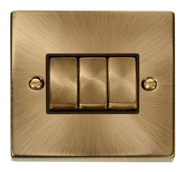 Deco 3Gang 2way Antique Brass Switch Black Insert