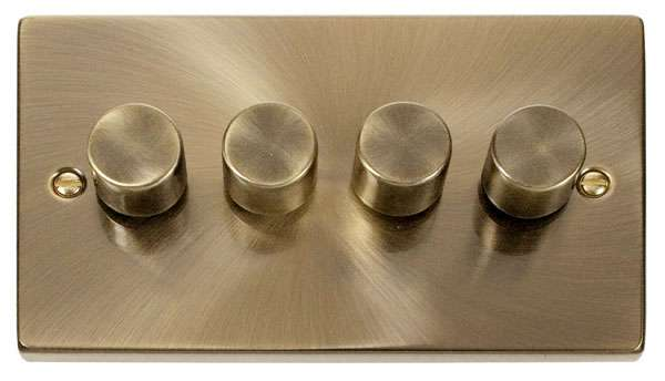 Deco 4Gang 2way Antique Brass Dimmer Switch