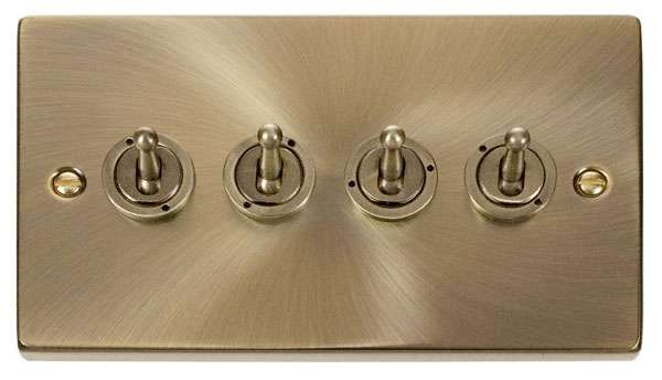 Deco 4Gang 2way Antique Brass Toggle Switch