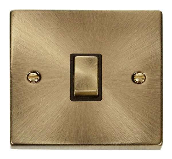 Deco Antique Brass 20A DP Switch Black Insert