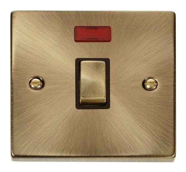 Deco Antique Brass 20A DP Switch w/Neon Black Insert