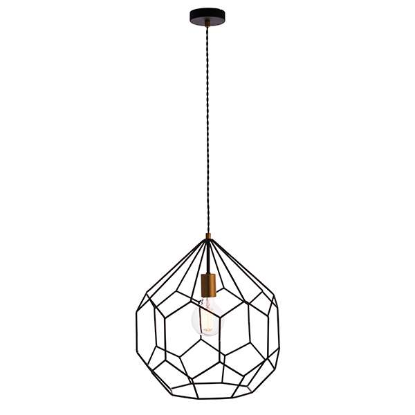 Deco Single Pendant in Matt Black