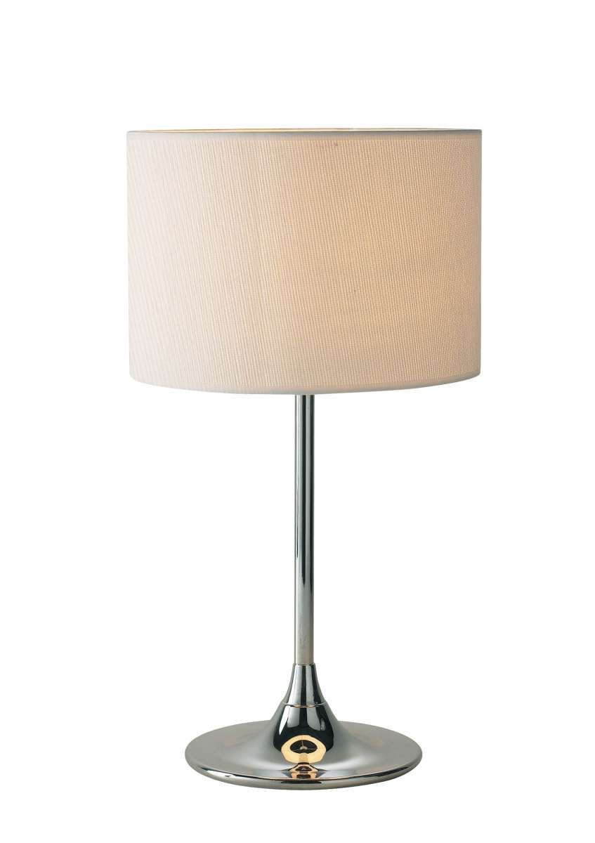 Delta Polished Chrome Table Lamp With Shade