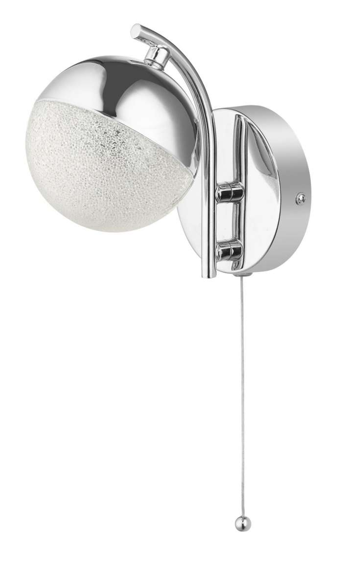 Dew 1 Light Bathroom Wall Light Polished Chrome IP44